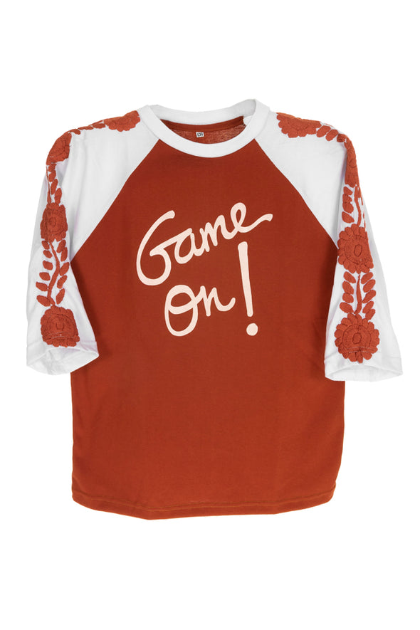Collegiate Mexican Embroidered 3/4 Sleeve Tee - Burnt Orange with White