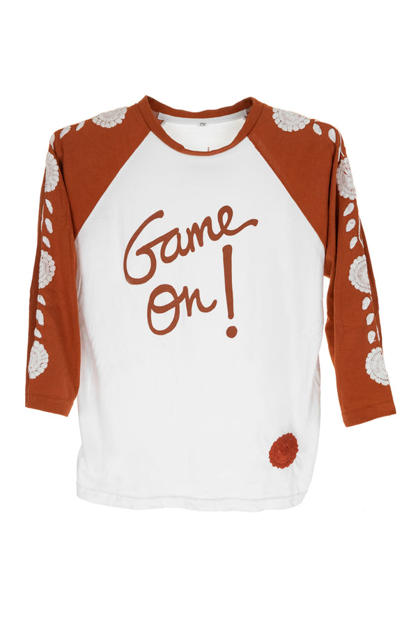 Collegiate Mexican Embroidered 3/4 Sleeve Tee - White with Burnt Orange