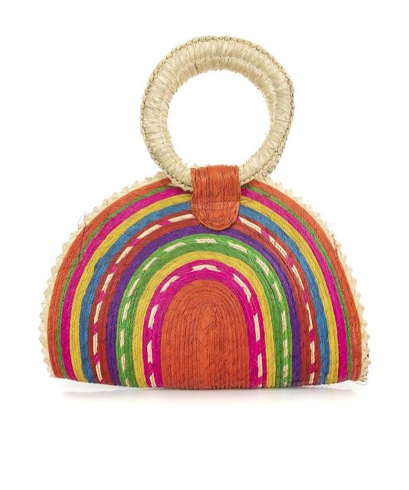 Handwoven Palm Quesadilla Purse- Multi Color