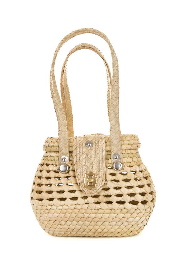 Handwoven Palm All Natural Purse - Round