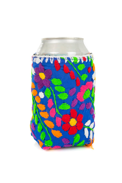 Beverage Koozie - Floral - Solid with Multicolored Embroidery