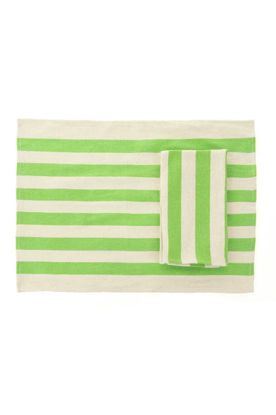 Placemat/Napkin - Color Block Woven Striped - Lime