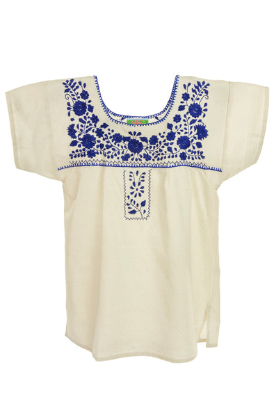 Mexican Puebla Blouse- Collegiate Cotton Sleeved- Natural/ Royal