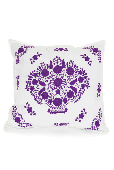 Pillow - Puebla Embroidered - White Purple