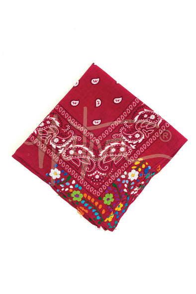 Embroidered Flower Bandana- Multiple Colors Available