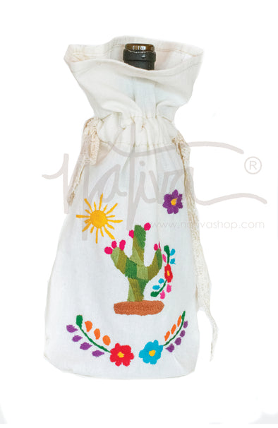 Bottle Bag - Cactus - Solid with Multicolored Embroidery
