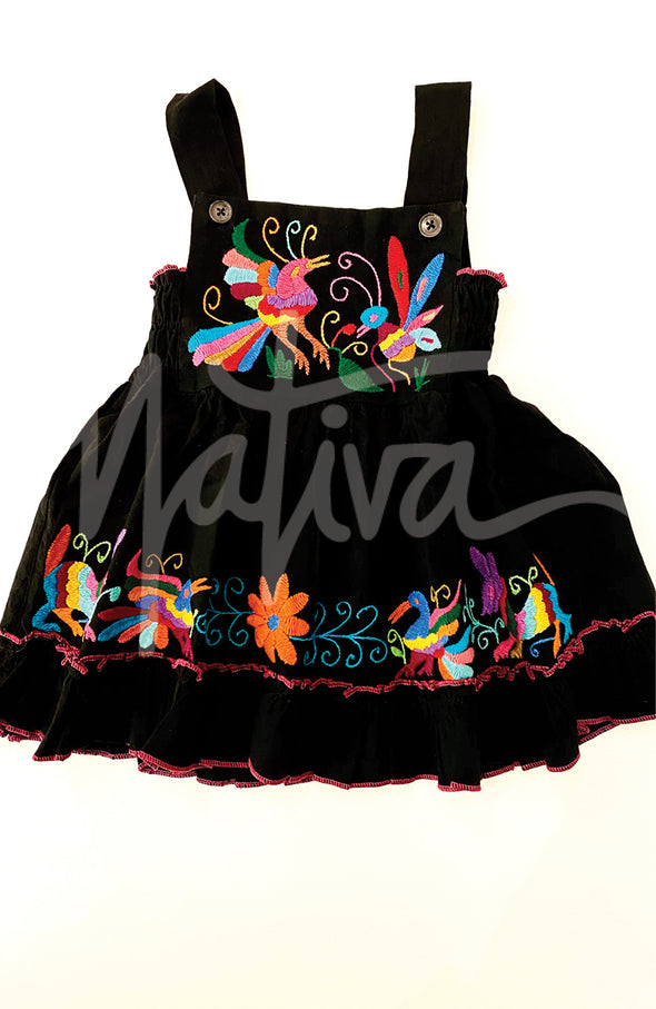 Black Bib Otomi Girls Dress - Multiple Sizes