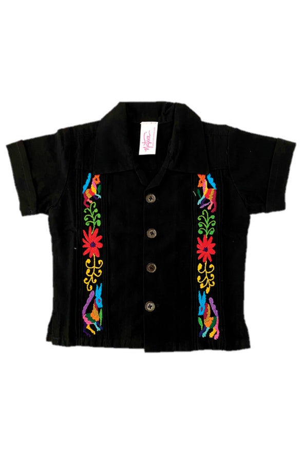Boys Otomi Guayaberas - Black/Multi
