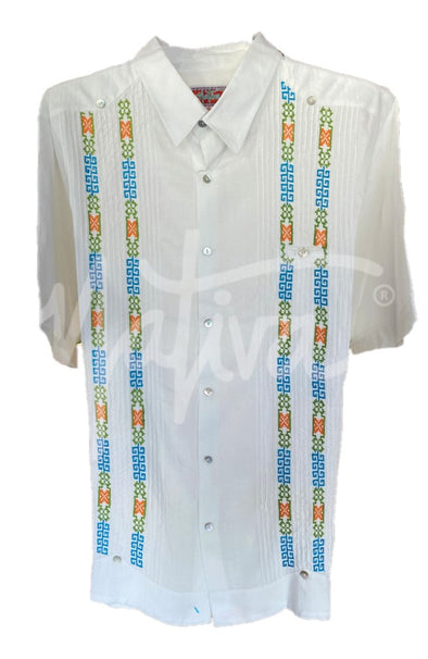 Guayabera White with Blue, Green, and Orange Embroidery