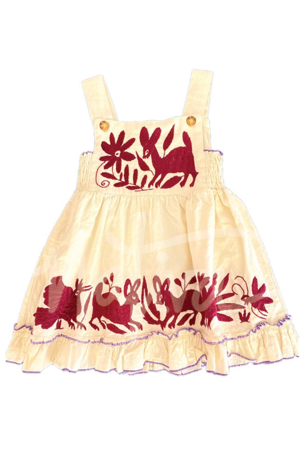 Bib Otomi Girls Dress -Collegiate Natural/Maroon Multiple Sizes