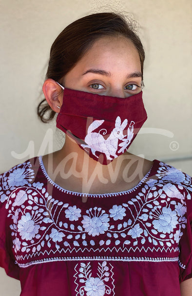 Otomi Embroidered Face Mask- Collegiate