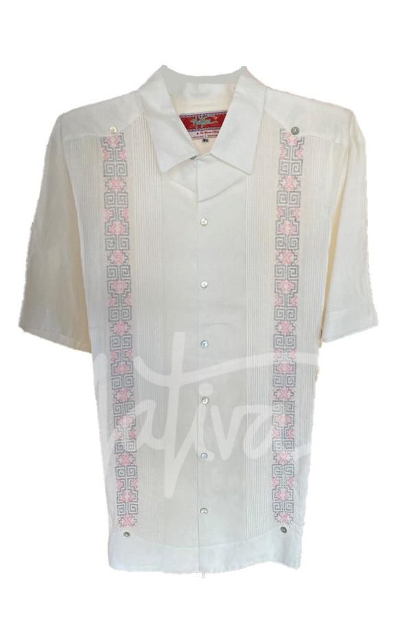 Guayabera White with Pale Pink and Silver Embroidery