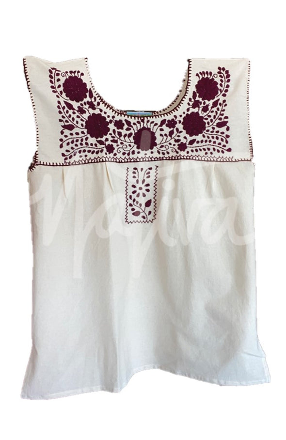 Mexican Puebla Blouse- Collegiate Cotton Sleeveless- Natural with Maroon