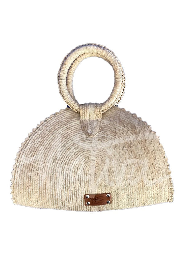 Handwoven Palm Quesadilla Purse- Natural