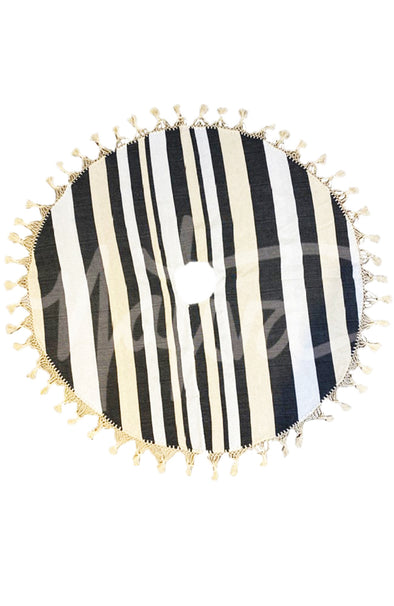 Woven Cotton Tree Skirt- Black, White, and Natural Stripe