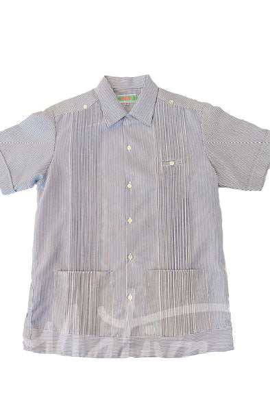 Men's Cotton Striped Guayabera - Navy Blue