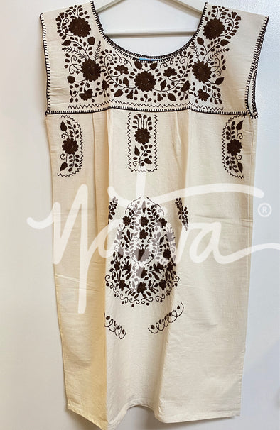 Mexican Embroidered Puebla Mini Dress  - Sleeveless -Natural with Cafe