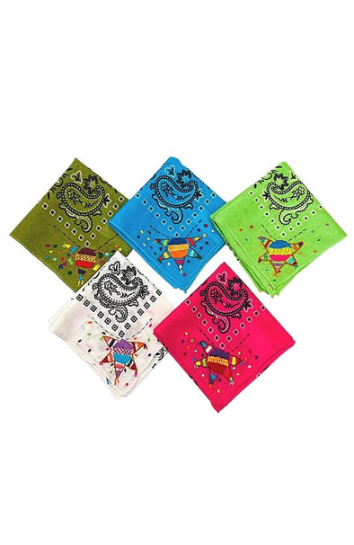 Embroidered Piñata Bandana- Multiple Colors Available