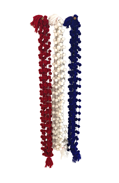 Red, White and Blue Pom Pom Single Strands