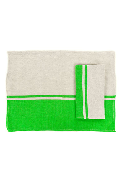 Place-mat/Napkin - Color Block Woven - Lime