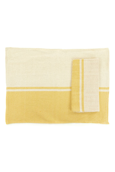 Place-mat/Napkin - Color Block Woven - Yellow
