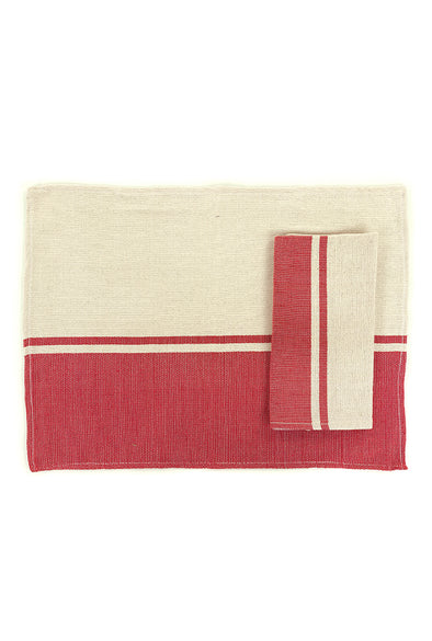 Place-mat/Napkin - Color Block Woven - Red
