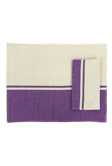 Place-mat/Napkin - Color Block Woven - Purple