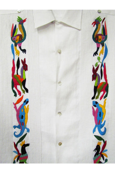 Guayabera with Otomi Embroidery- White with Multi Color