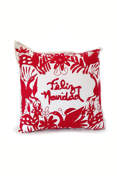 "Pillowcase- Otomi Embroidered Pillow - ""Feliz Navidad"" in Red"
