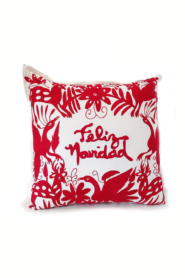 "Otomi Embroidered Pillow - ""Feliz Navidad"" in Red"
