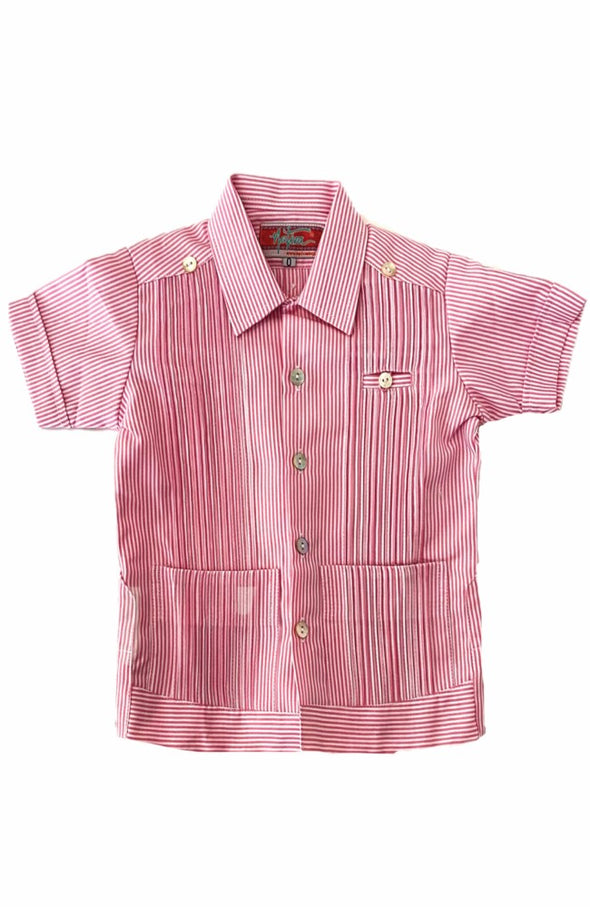 Boys Guayabera - Striped Pink