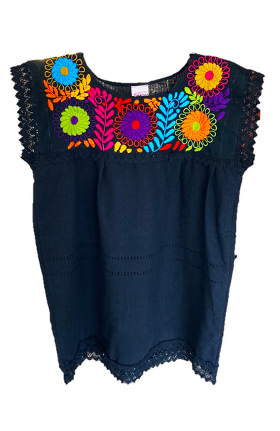 Chiapas Flower Telar Blouse - Black with Multi