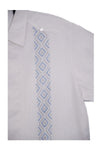 Codice Guayabera - White with Light Blue Embroidery