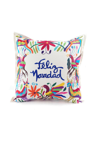 "Otomi Embroidered Pillow - ""Feliz Navidad"" in Multi"