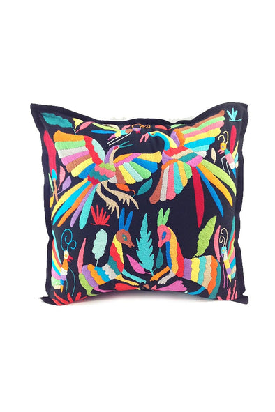 Otomi Embroidered Pillow - Black with Multi