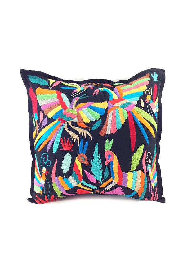 Pillowcase- Otomi Embroidered - Black with Multi
