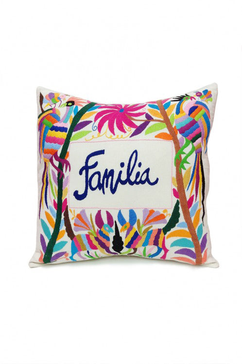 "Pillow - Otomi Embroidered Pillow - ""Familia"""