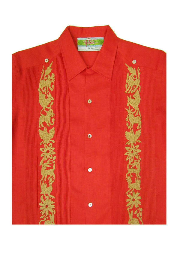 Guayabera with Beige Otomi Embroidery - Coral