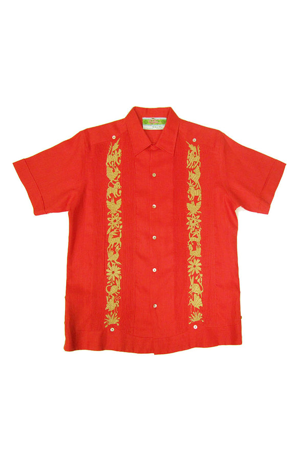 Guayabera with Otomi Embroidery - Coral with Beige
