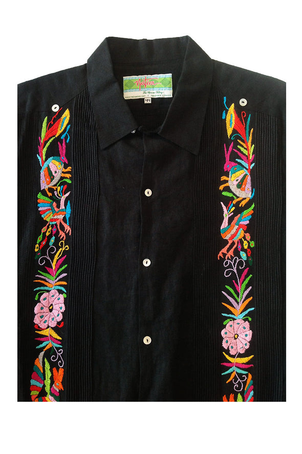 Guayabera with Otomi Embroidery- Black with Multi Color