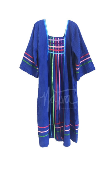 Pleated Ribbon Dress - Royal with Multi