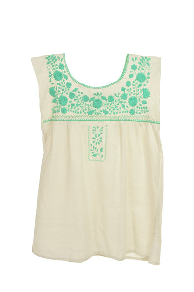 Mexican Puebla Blouse - Cotton Sleeveless- Natural/ Mint