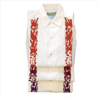 Collegiate Guayabera with Otomi Embroidery-Multiple Color Options