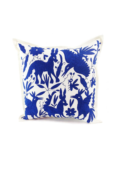 Pillowcase- Otomi Embroidered - Natural with Royal