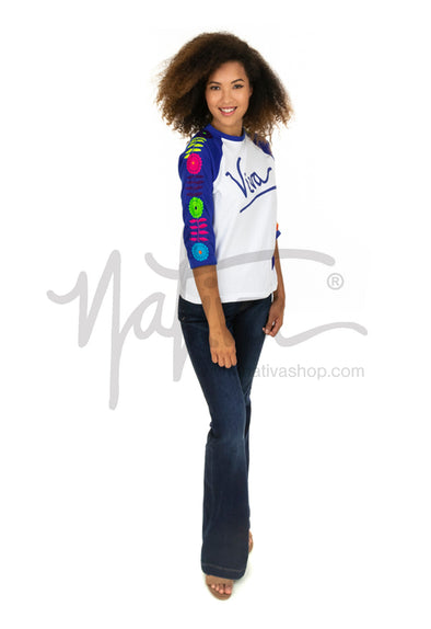 """Viva"" Mexican Embroidered 3/4 Sleeve Tee - Royal Blue with Multi"
