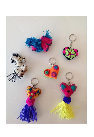 Wool Key Ring- Amigos and Corazones