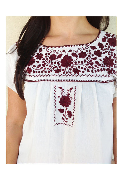 Mexican Puebla Blouse- Collegiate- Cotton Sleeved- Natural/ Maroon
