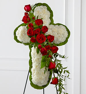 Floral Cross Easel CA
