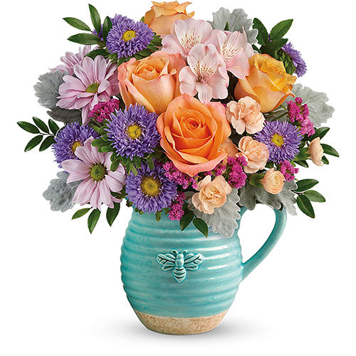 Busy Bee Pitcher Bouquet