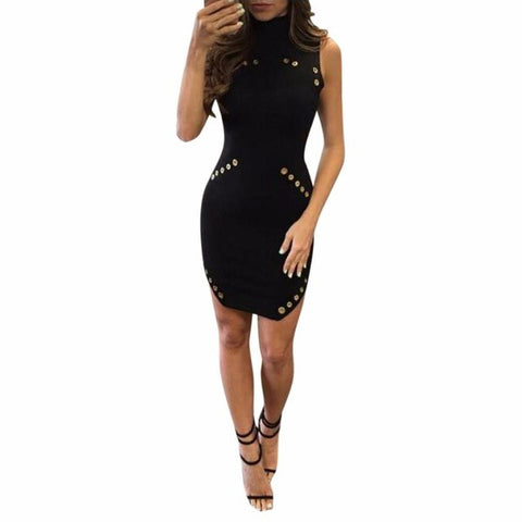 Women Sexy Black Dress Jurken High-Necked Sequin Button Metal circle Sleeveless Package Hip Slim Mini Dress vestido de festa